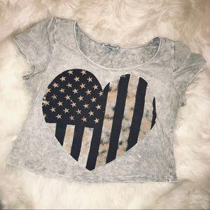 American flag heart crop